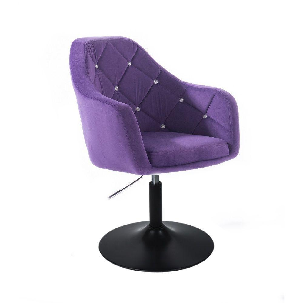 Kosmetické křeslo ROMA VELUR na černém talíři - fialová