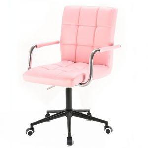 Židle VERONA na černé podstavě s kolečky - růžová
