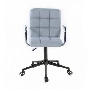Židle VERONA na černé podstavě s kolečky - šedá