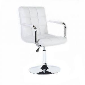 Židle VERONA na kulaté podstavě - bílá
