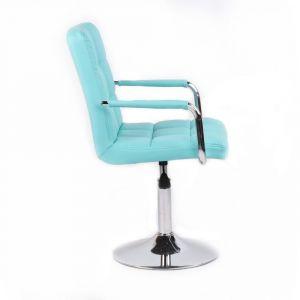 Židle VERONA na kulaté podstavě - tyrkysová