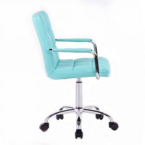 Židle VERONA na podstavě s kolečky - tyrkysová