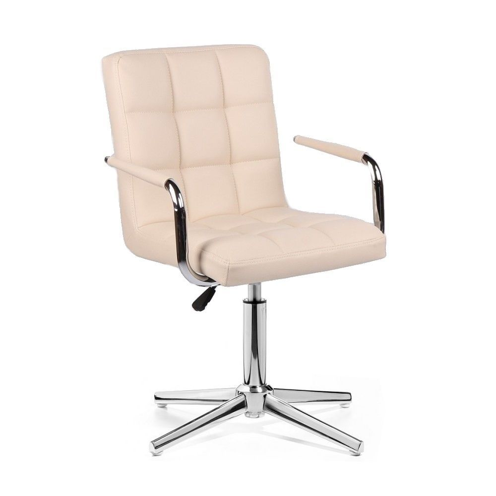 Židle VERONA na stříbrném kříži - krémová