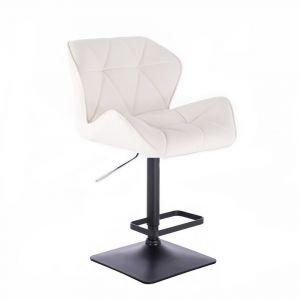 Barová židle MILANO na černé podstavě - bílá