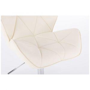 Barová židle MILANO na kulaté stříbrné podstavě - krémová