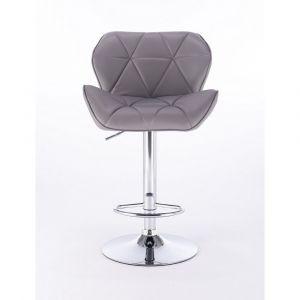 Barová židle MILANO na kulaté stříbrné podstavě - šedá