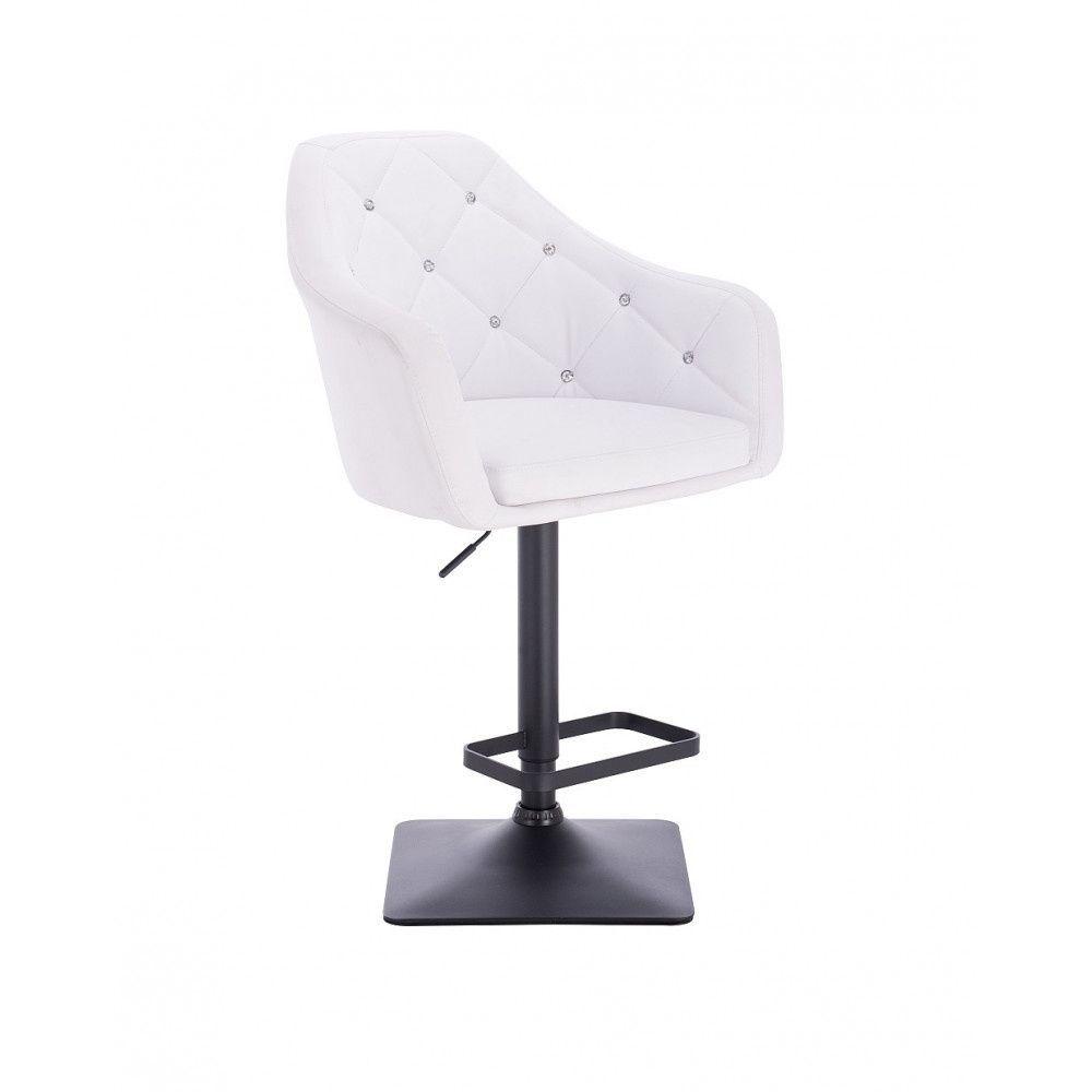 Barová židle ROMA na černé podstavě - bílá
