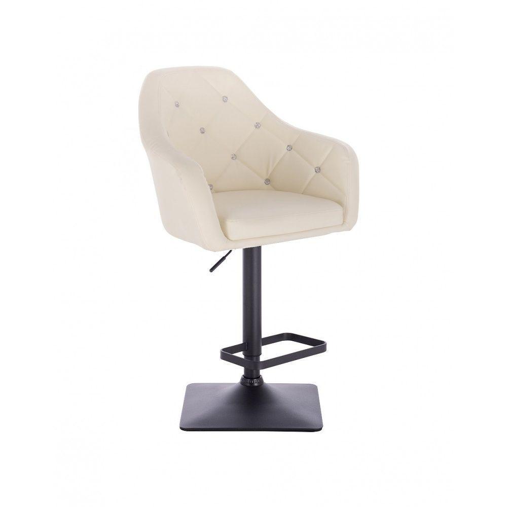 Barová židle ROMA na černé podstavě - krémová