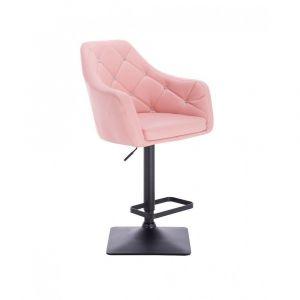 Barová židle ROMA na černé podstavě - růžová