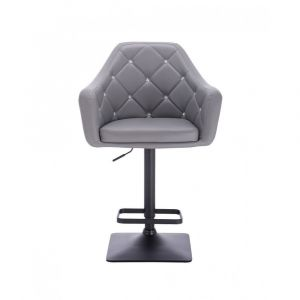 Barová židle ROMA na černé podstavě - šedá