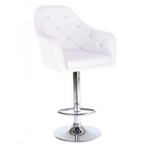 Barová židle ROMA na stříbrné kulaté podstavě - bílá