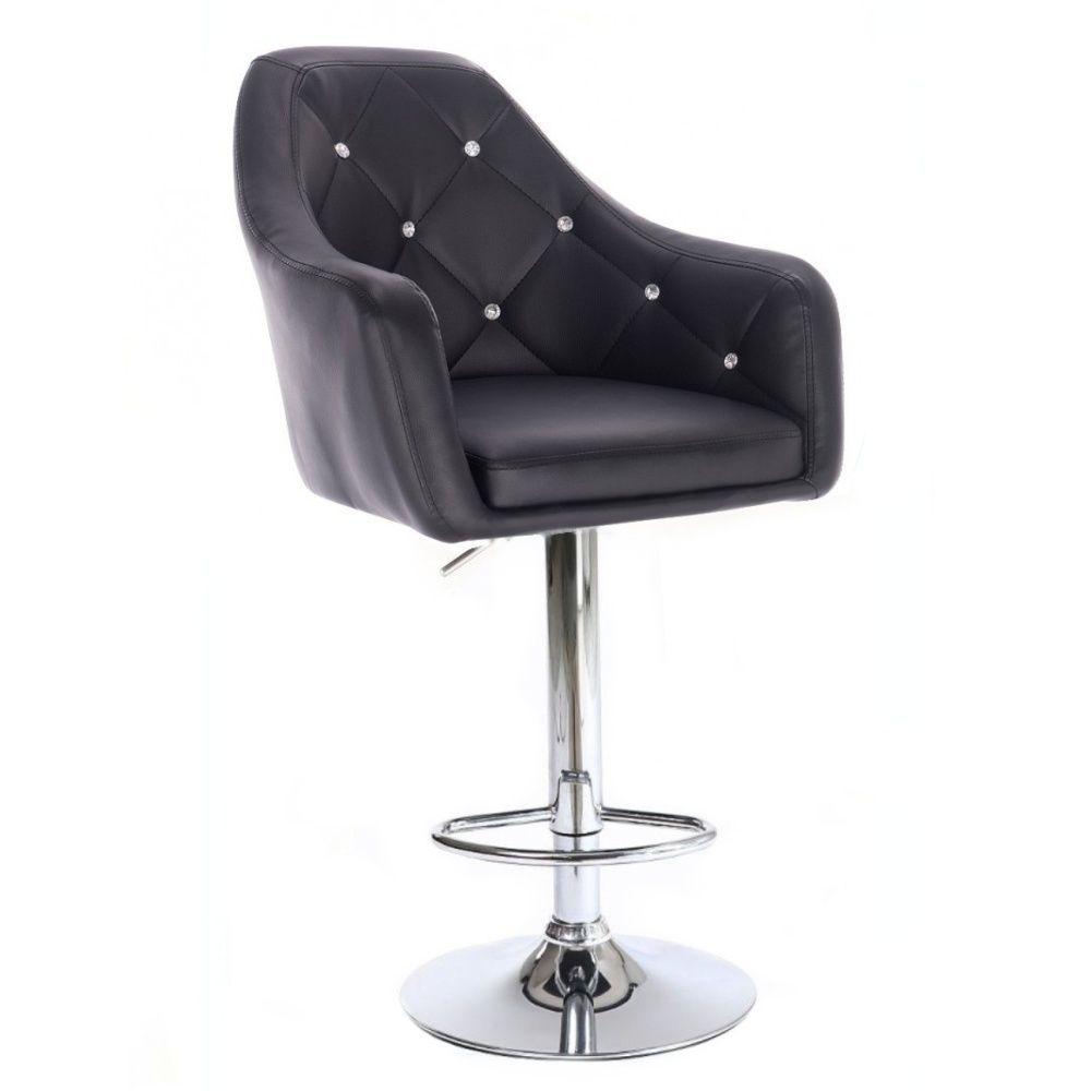 Barová židle ROMA na stříbrné kulaté podstavě - černá