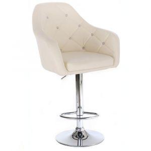Barová židle ROMA na stříbrné kulaté podstavě - krémová