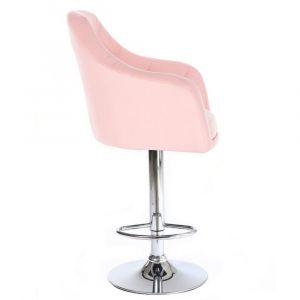 Barová židle ROMA na stříbrné kulaté podstavě - růžová