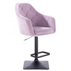 Barová židle ROMA VELUR na černé podstavě - fialový vřes