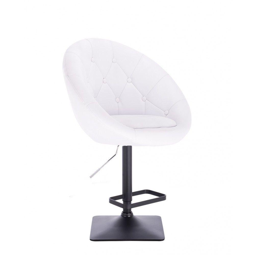 Barová židle VERA na černé podstavě - bílá