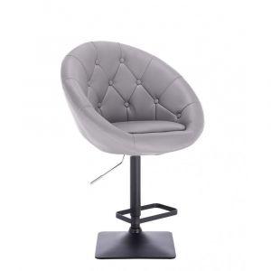 Barová židle VERA na černé podstavě - šedá