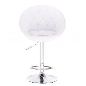 Barová židle VERA na stříbrné kulaté podstavě - bílá