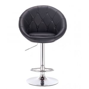 Barová židle VERA na stříbrné kulaté podstavě - černá