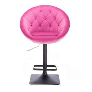 Barová židle VERA VELUR na černé podstavě - sytě růžová