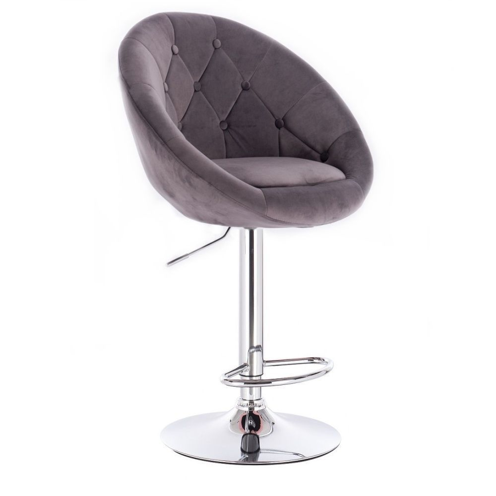 Barová židle VERA VELUR na stříbrné kulaté podstavě - šedá