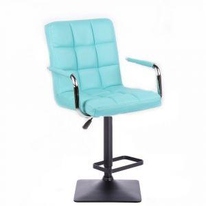 Barová židle VERONA na černé podstavě - tyrkysová