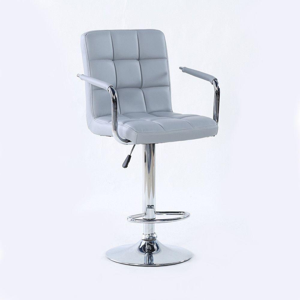 Barová židle VERONA na stříbrné kulaté podstavě - šedá