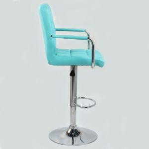 Barová židle VERONA na stříbrné kulaté podstavě - tyrkysová