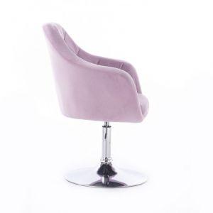 Křeslo ROMA VELUR na stříbrném talíři - fialový vřes